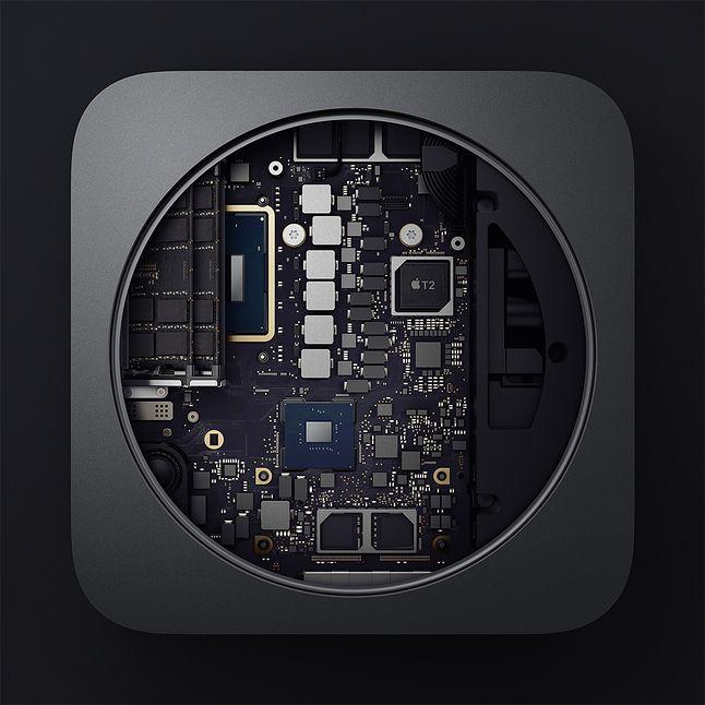 Sprawca całego zamieszania: układ T2 na płycie głównej nowego Maca Mini (mat. pras. Apple)