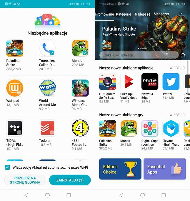 Sklep z aplikacjami Huaweia: ekran powitalny to kolejne reklamy
