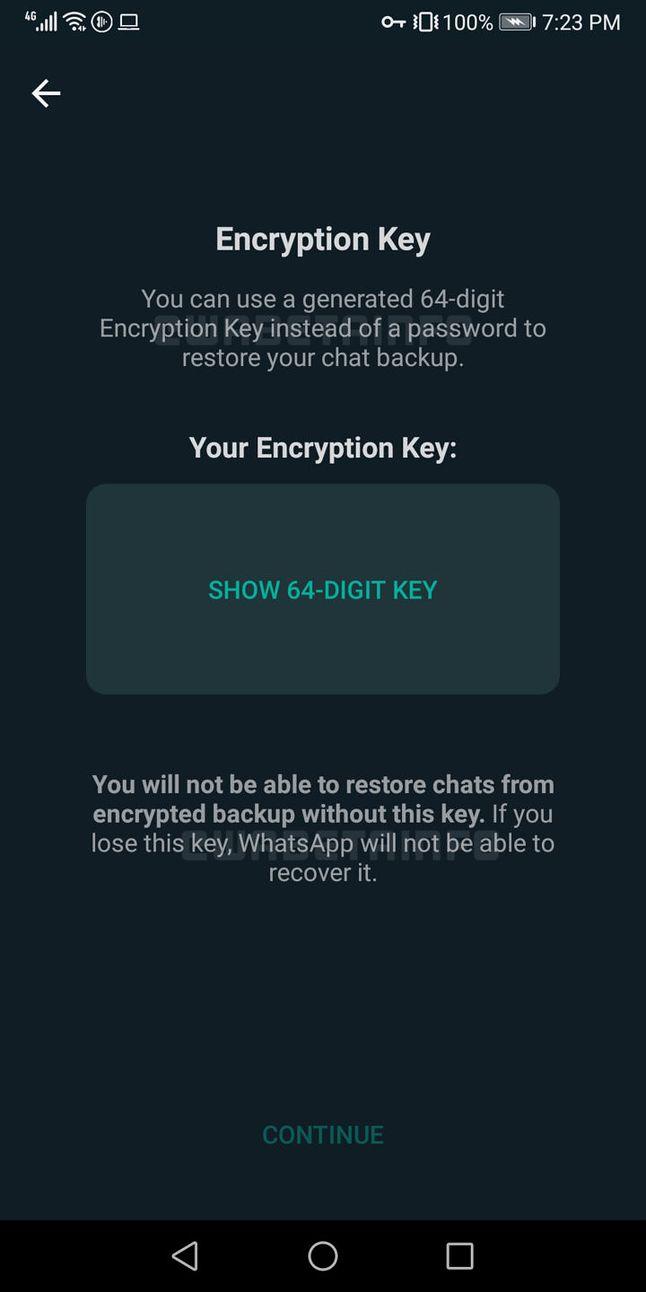 Szyfrowane kopie zapasowe w WhatsAppie beta