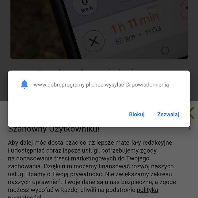 Pytanie strony o możliwość przesyłania powiadomień push, Android
