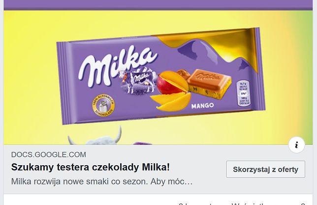 Nie daj się nabrać: to nie rekrutacja na testera czekolady, tylko wyłudzanie danych osobowych