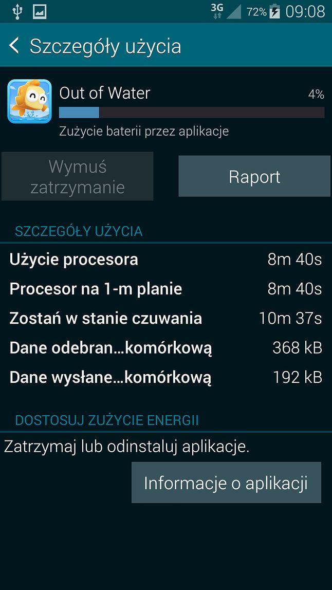 Wykorzystanie baterii w aplikacji