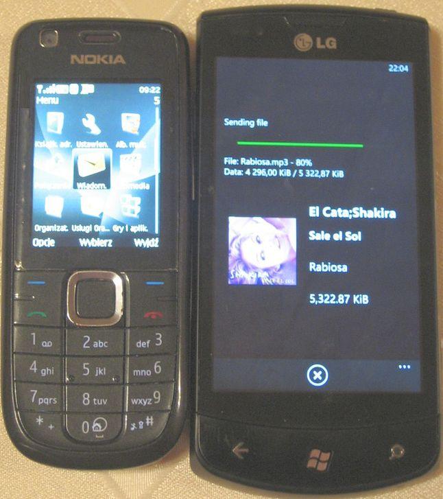 Przesyłanie plików z Windows Phone do starej Noki przez Bluetooth działa wyśmienicie.