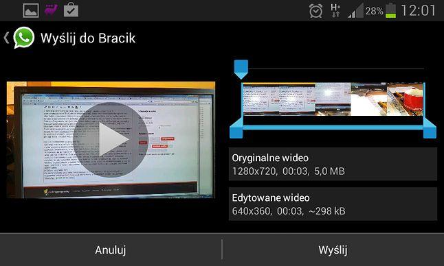 Przy wysyłaniu wideo można wg. uznania przyciąć jego długość.