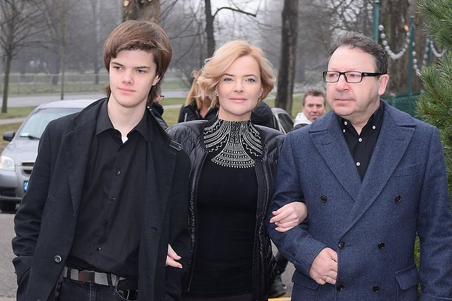 Monika Zamachowska z synem i mężem