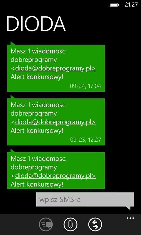 SMS wysłany z poczty wp.pl o przyjściu maila z alertem
