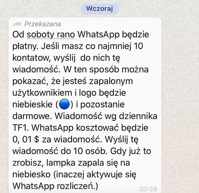 """Stary i znany """"łańcuszek"""" na WhatsAppie."""