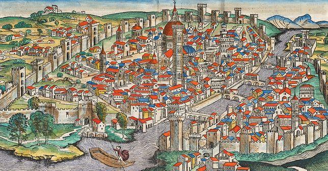 Florencja na miniaturze z tzw. Kroniki Norymberskiej. Rok 1493