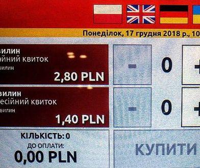 Kolejne polskie miasto z jęz. ukraińskim w biletomatach. Pojawiły się głosy oburzenia