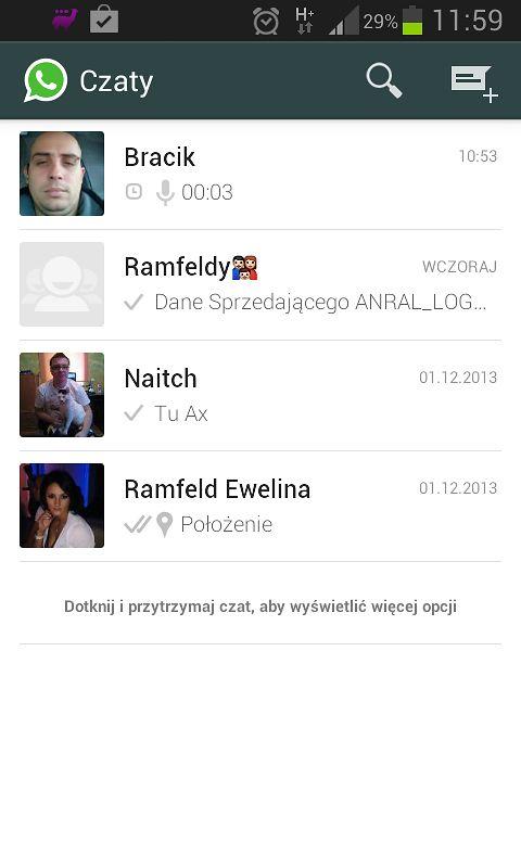 Główne okno programu, widnieją tutaj nasi znajomi, którzy posiadają program WhatsApp