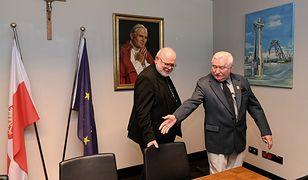 Przewodniczący Episkopatu Niemiec, arcybiskup Monachium i Fryzyngi, kardynał prof. Reinhard Marx i były prezydent Lech Wałęsa podczas spotkania w Gdańsku