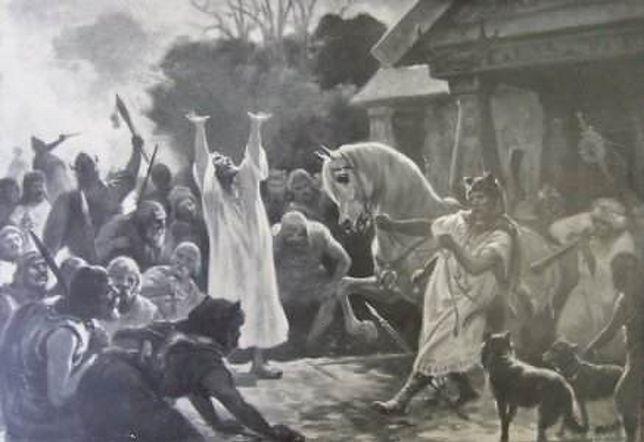 O wierzeniach Słowian wiemy bardzo niewiele. Obraz Józefa Ryszkiewicza – Wróżba przed bitwą