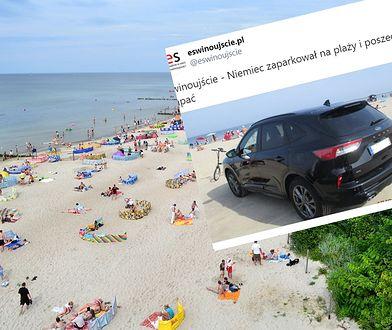 Straż miejska w szoku. Niemiec zaparkował na plaży i poszedł się kąpać