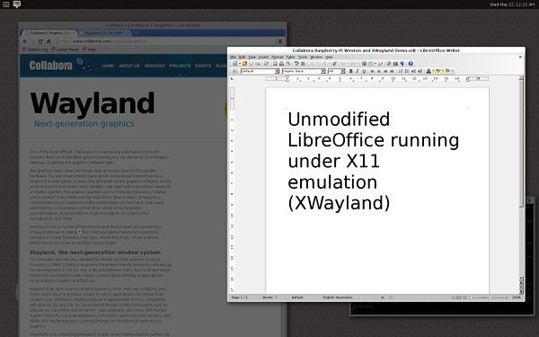 Weston wraz z aplikacjami X11 działającymi dzięki XWayland.