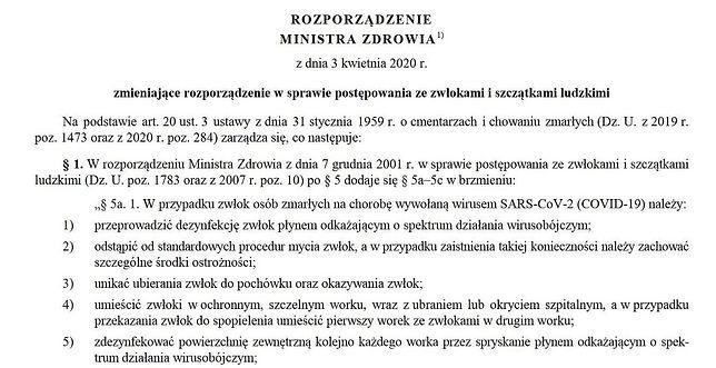 Rozporządzenie w sprawie pochówków ofiar epidemii koronawirusa