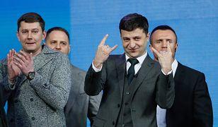 Wołodymyr Zełenski podczas debaty na Stadionie Olimpijskim w KIjowie