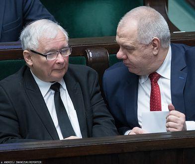 Prezes PiS Jarosław Kaczyński i wicepremier Jacek Sasin