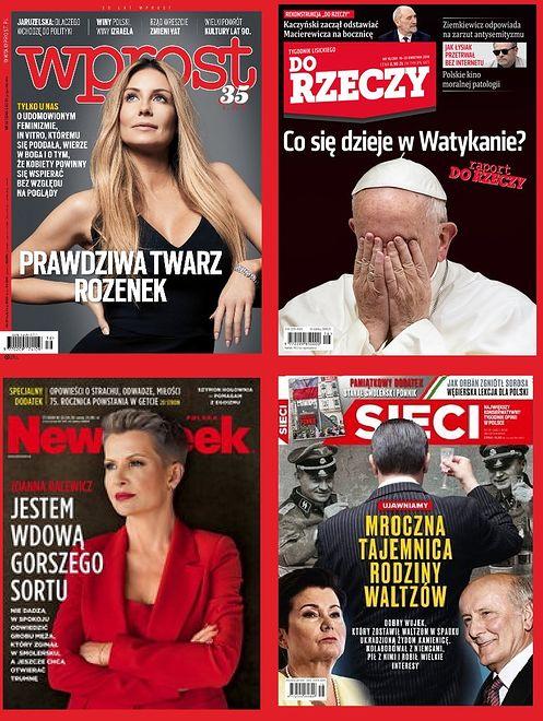 Okładki tygodników. Racewicz, wujek Waltzów, Rozenek i raport o Watykanie