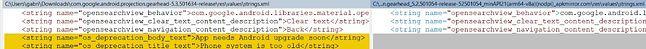 Łańcuchy znaków w Androidzie Auto 5.3 sugerują nadchodzące porzucenie obsługi Androida 5.0, fot. shmykelsa/reddit.
