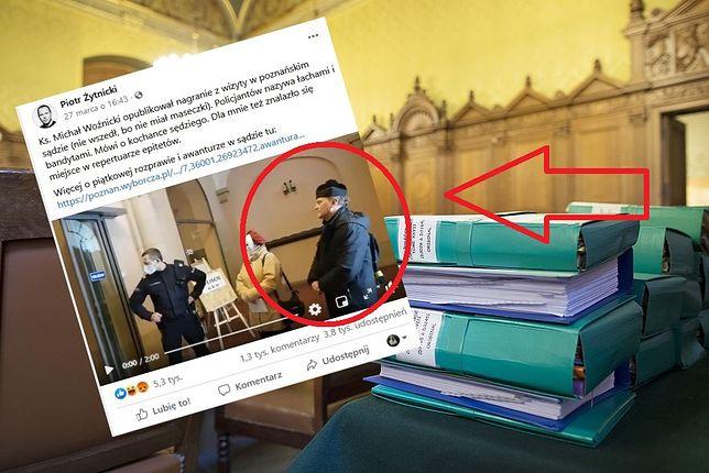Poznań. Ksiądz Michał Woźnicki bez maski nie wszedł do sądu. Poleciały wyzwiska