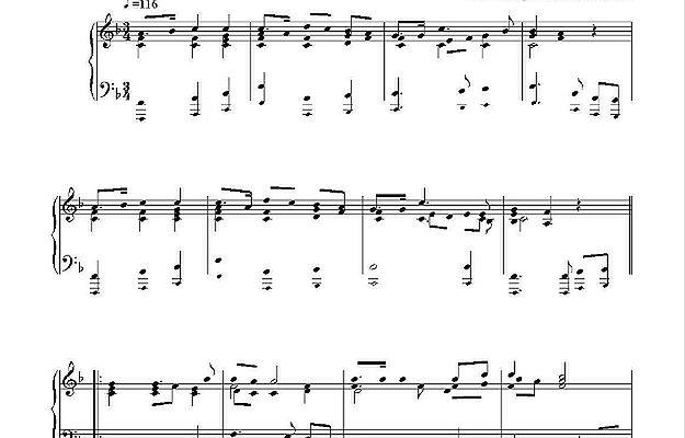 """Tekst muzyczny """"Mazurka Dąbrowskiego"""" dla fortepianu"""