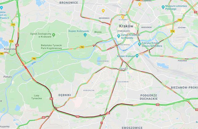 Wypadek na A4. Południowa obwodnica Krakowa zakorkowana