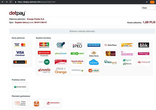 Fałszywa strona płatności. Źródło: niebezpiecznik.pl