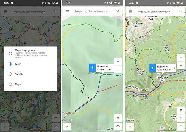 Kilka rodzajów podglądu mapy