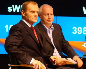 Donald Tuski i Michał Boni na GPW.