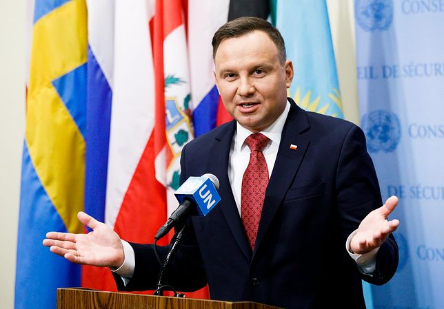 Andrzej Duda na konferencji prasowej po wystąpieniu podczas debaty RB ONZ