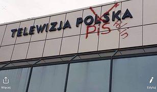 Zniszczona elewacja budynku TVP w Rzeszowie