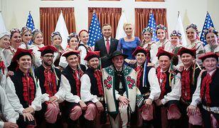 Prezydent Andrzej Duda z małżonką Agatą Kornhauser-Dudą podczas spotkania z przedstawicielami Polonii w Houston
