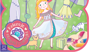 Książeczka-torebeczka. Stroje małej dziewczynki. Kolorowanka z naklejkami