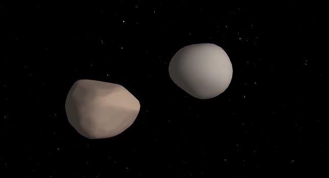 Dwie asteroidy obracają się wokół siebie
