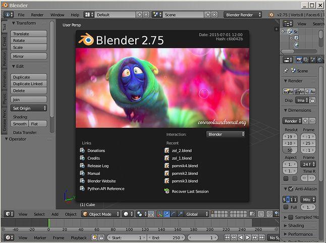 Ekran startowy Blendera