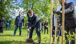 Warszawa. Symboliczne jabłonie na Polach Mokotowskich na święto samorządów