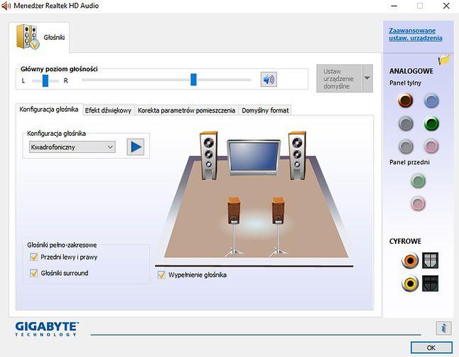 Tradycyjna konfiguracja w Windows dla kwadrofonii
