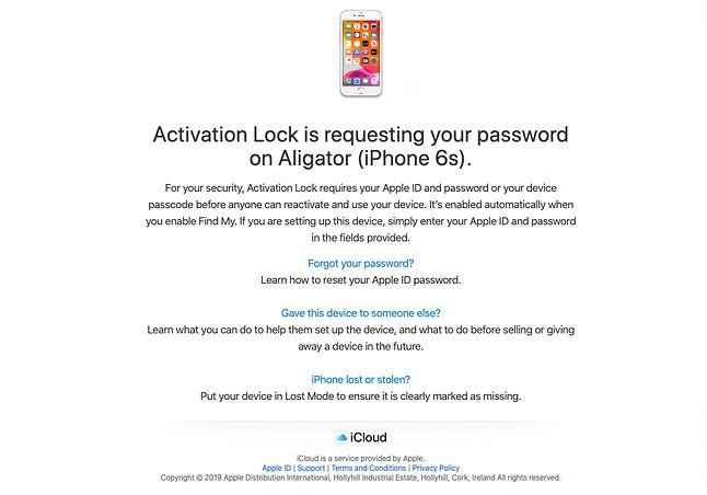 Treść e-maila z informacją o próbie odblokowania mojego iPhone'a