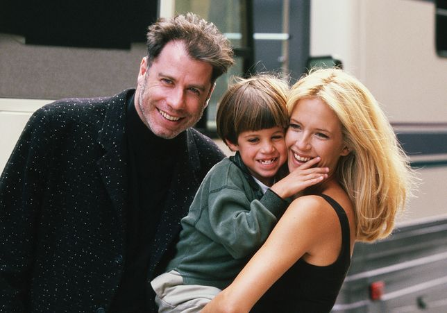John Travolta z synem Jettem i Kelly Preston w 1997 r.