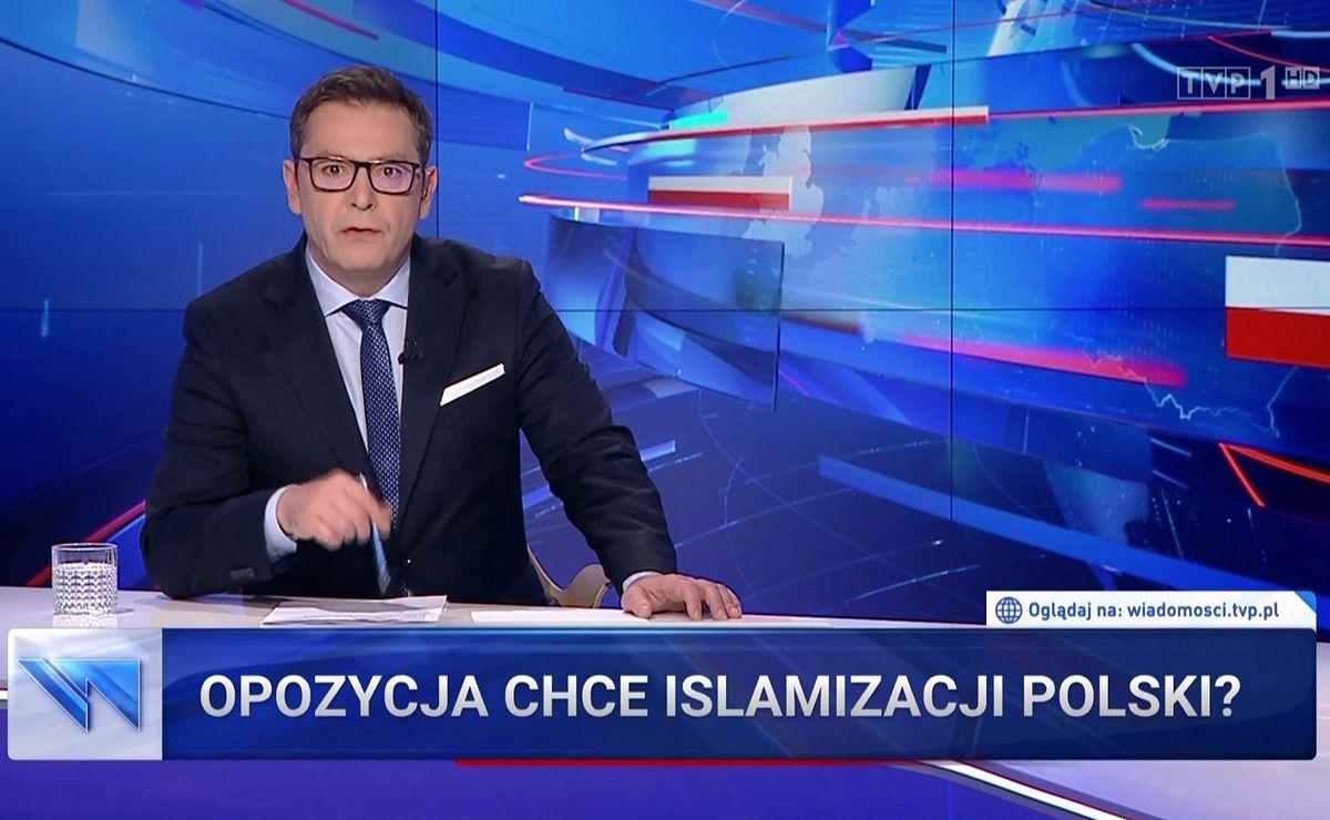"""Michał Adamczyk w """"Wiadomościach"""" TVP zastanawiał się, czy """"opozycja chce islamizacji Polski?"""""""