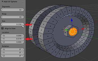 Wstawienie kuli (UV Sphere) i stawienie jej w Tweak Panelu