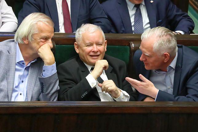 Ryszard Terlecki, prezes PiS Jarosław Kaczyński i wicepremier Jarosław Gowin