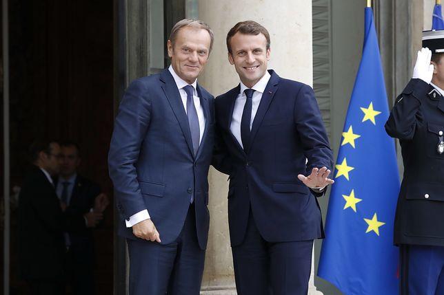 Donald Tusk i Emmanuel Macron