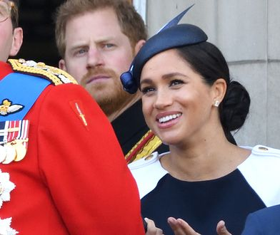 Meghan Markle wraz z księciem Harrym podczas Trooping the Colour