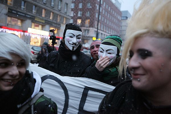 Protest przeciw podpisaniu ACTA w Warszawie