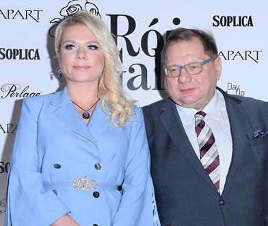 Ryszard Kalisz ze swoją o 29 lat młodszą żoną.