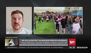 """Białoruś. Protesty nie ustają. Zmicier Mickiewicz: """"Widzimy wsparcie od Polski i Litwy"""""""