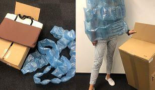 Karton oraz plastikowa folia, w której dostarczony był zamówiony produkt