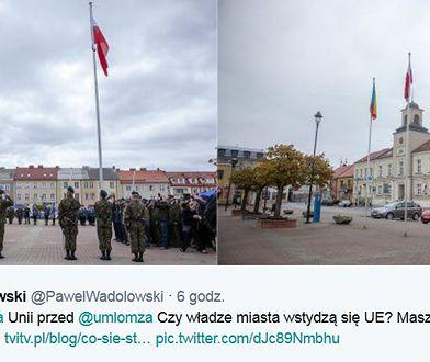W Łomży zdemontowano unijną flagę. Przez zastępcę Błaszczaka?