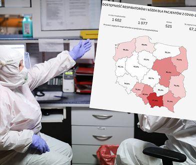 Koronawirus w Polsce. Gdzie zaczyna brakować wolnych łóżek i respiratorów? Jest mapa